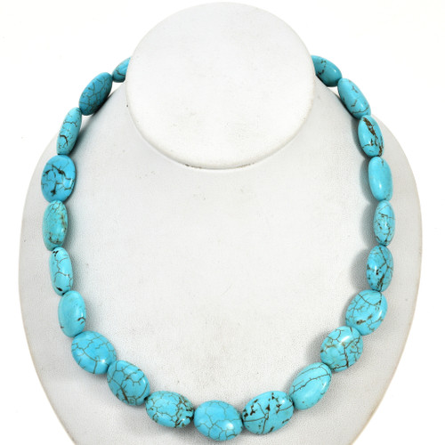 Chunky Turquoise Magnesite Oval Beads 30874