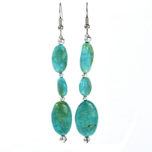 Turquoise Silver Navajo Earrings 29248