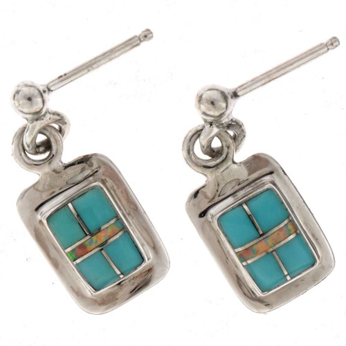 Turquoise Opal Inlaid Earrings 25607