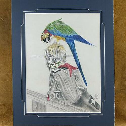 """Limited Edition """"Rodeo clown with his pet Macaw"""" Canvas Print"""