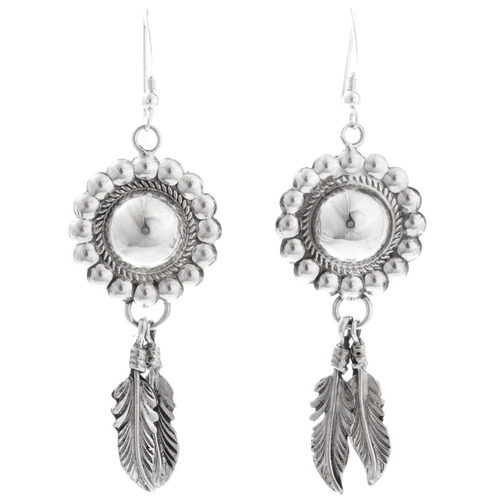 Navajo Silver Concho Earrings 16354