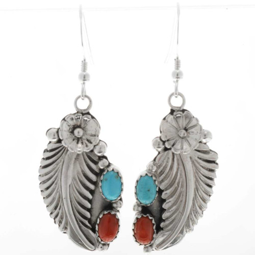Turquoise Coral Navajo Earrings 27414