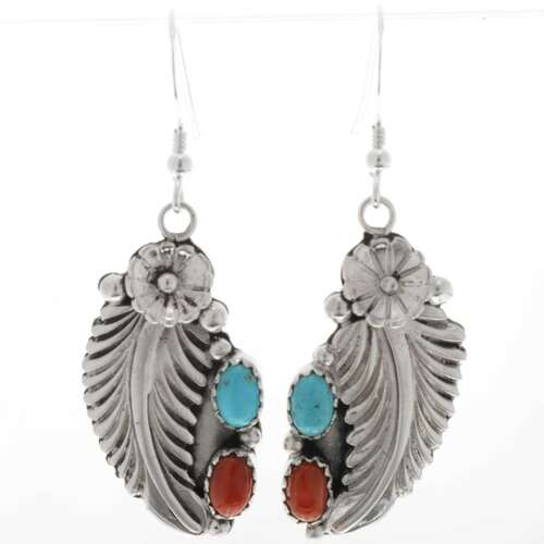 Turquoise Coral Navajo Earrings 27414