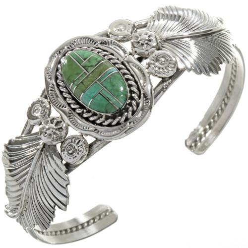 Inlaid Turquoise Silver Ladies Bracelet 28345