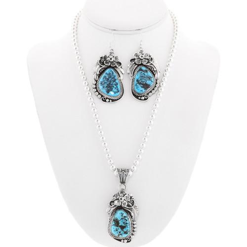 Navajo Genuine Turquoise Necklace Set 23195