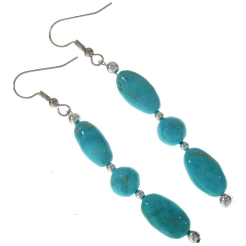 Natural Turquoise Nugget Earrings 28303