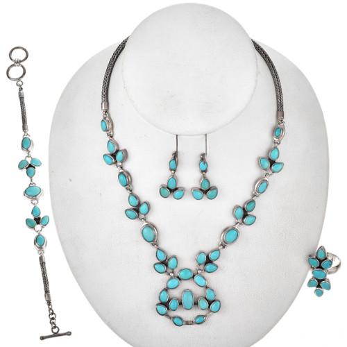 JTurquoise Silver Southwest Necklace Set 11515