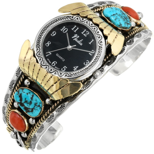 Native American Turquoise Coral Watch 24357