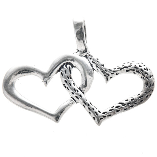 Sterling Silver Linked Hearts Pendant Charm Bracelet Charm Necklace