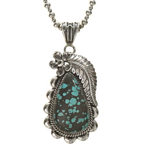 Sterling Turquoise Southwest Ladies Pendant 28542