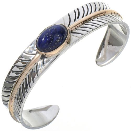 Navajo Lapis Silver Gold Bracelet 28393