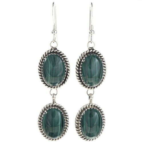 Two Stone Malachite Silver Earrings 29064