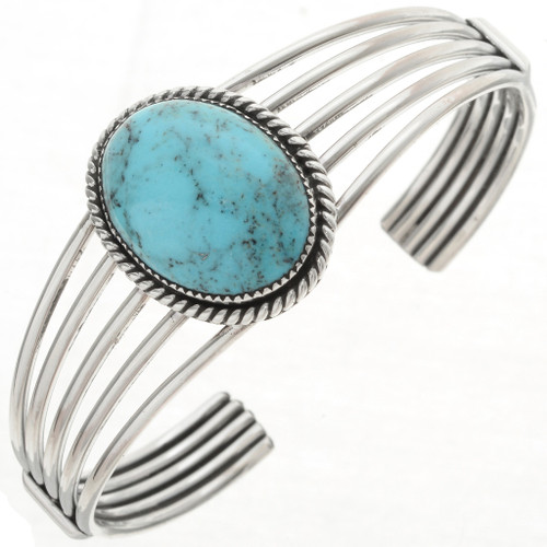 Blue Turquoise Silver Cuff 22107