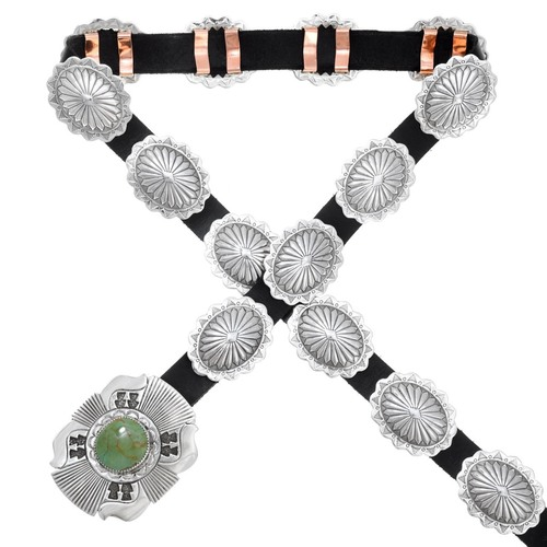 Navajo Turquoise Sterling Concho Belt 29763