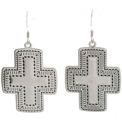 Navajo Sterling Cross Earrings 23645
