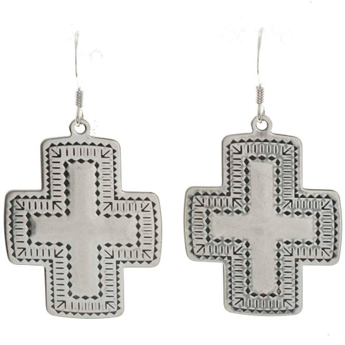 Navajo Sterling Cross Earrings 23645