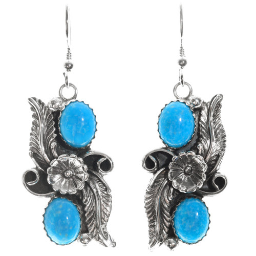 Kingman Turquoise Silver Earrings 26662