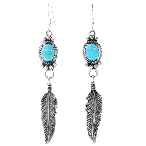 Turquoise Feather Earrings 27507