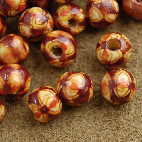 8mm Painted Wood Beads Set of Fifty 1