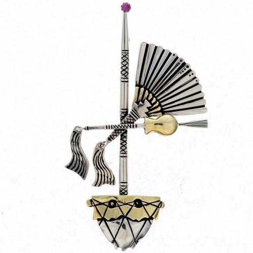 Indian Prayer Fan Pin Brooch 25094