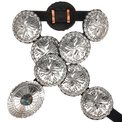 Kings Manassa Turquoise Silver Concho Belt 14373