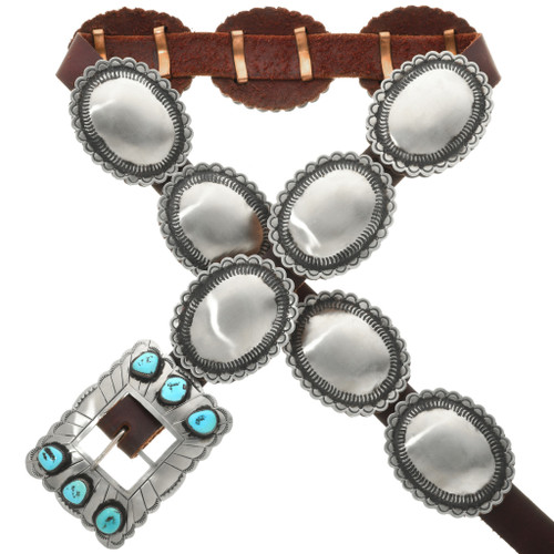 Turquoise Silver Navajo Concho Belt 30352