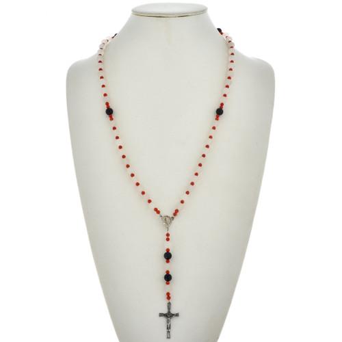 Navajo Coral Goldstone Rosary Necklace 21563