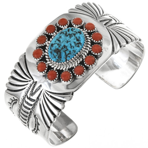 Turquoise Coral Silver Mens Bracelet (High Shine) 25712