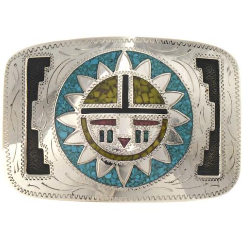 Hopi Sunface Engraved Silver Belt Buckle 19780