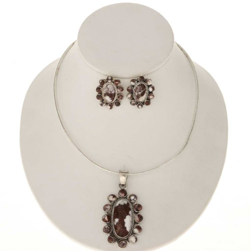 Native American Silver Pendant Necklace Set 25465