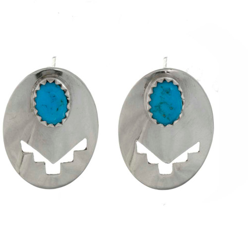 Turquoise Silver Concho Earrings 26383