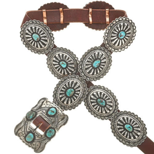 Genuine Turquoise Silver Concho Belt 30429