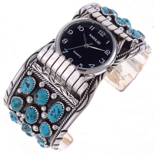 Mens Turquoise Cluster Silver Watch 24528