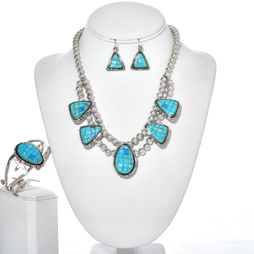 Turquoise Opal Silver Necklace Set 29710