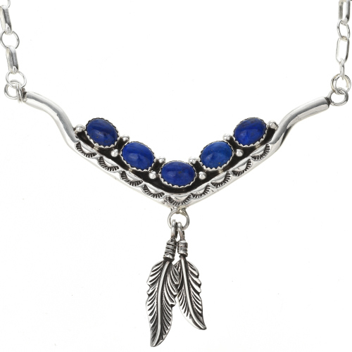Navajo Genuine Lapis Silver Necklace 29250