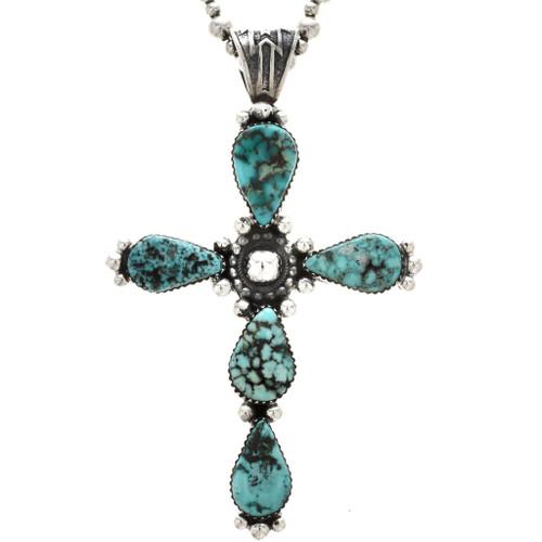 Navajo Turquoise Cross Pendant 25640
