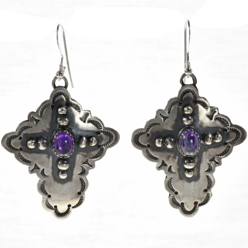 Amethyst Silver Cross Dangle Earrings 28851