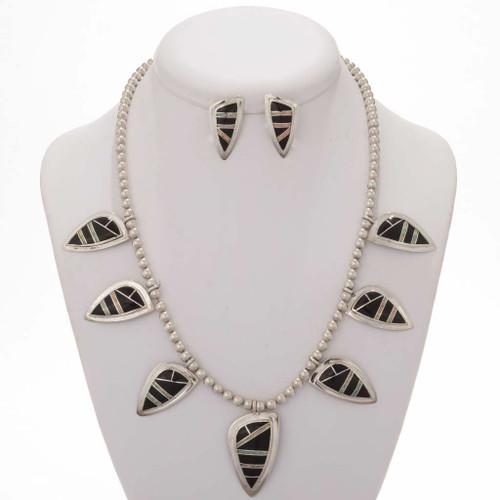 Sterling Opal jet Necklace Earrings Set 12864