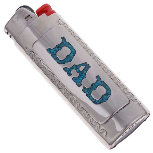 Dad Turquoise  Silver Bic Lighter Case 20992