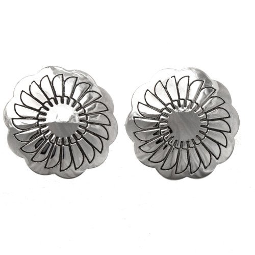 Hammered Silver Concho Cuff Links 20895
