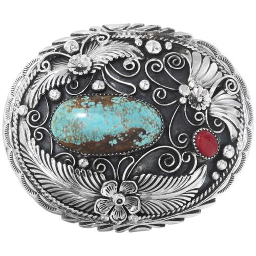Kingman Turquoise Silver Belt Buckle 28036