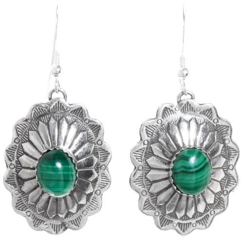 Malachite Silver Concho Earrings 28937