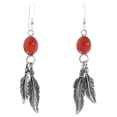 Coral Silver Feather Earrings 29406