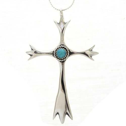 Navajo Turquoise Cross Pendant 27269
