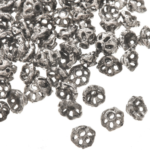 1 Ounce Set of 85 4mm x 6mm Silver Bali Bead Caps 0190