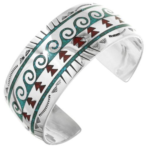 Turquoise Coral Inlaid Silver Navajo Cuff 29599