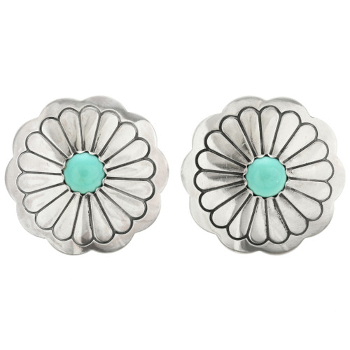 Navajo Hammered Concho Turquoise Earrings 20750