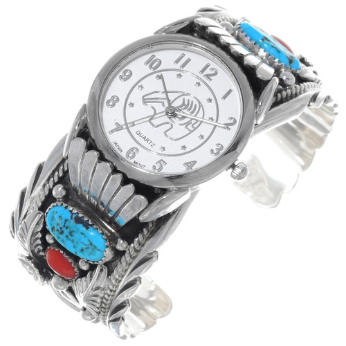 Navajo Turquoise Coral Cuff Watch 24481
