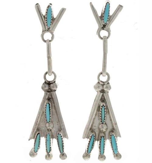 Turquoise Needlepoint Earrings 26418