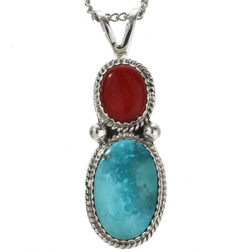 Turquoise Coral Twist Wire Sterling Pendant 29307